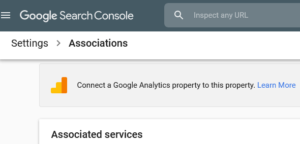 Associations Page - Google Search Console