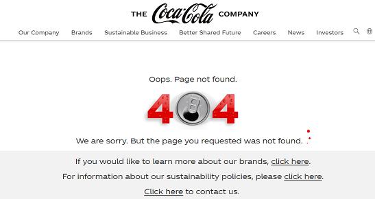 Custom 404 Page for Coca Cola