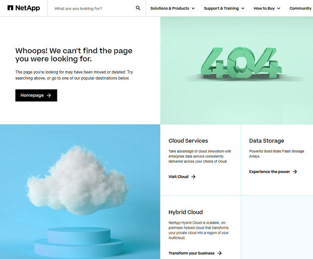 Custom 404 Page for NetApp