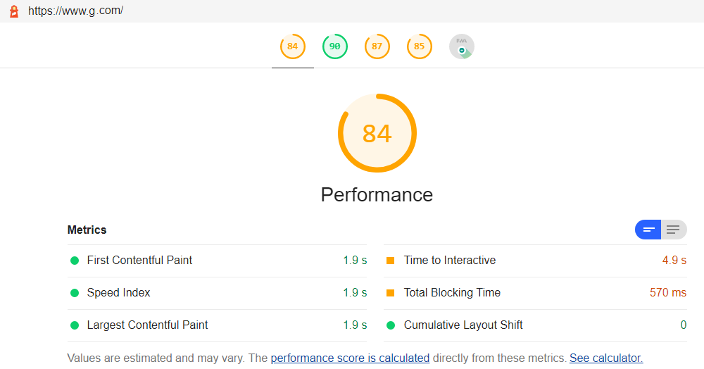 Lighthouse Report with Core Web Vitals Metrics