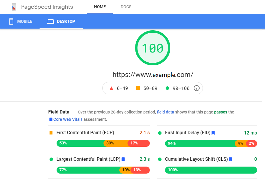 PageSpeed Insights with Core Web Vitals Metrics