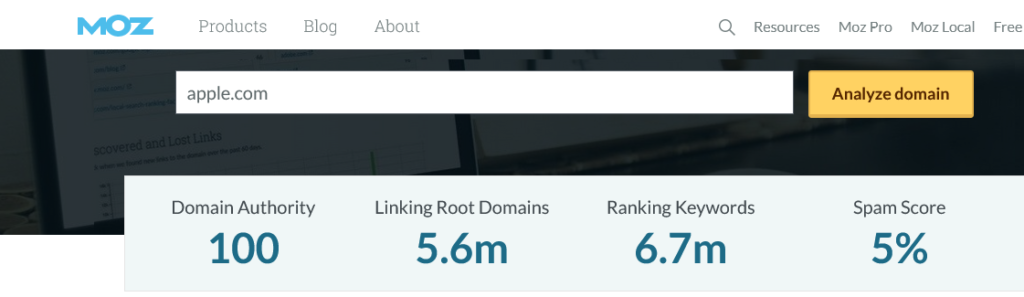 Moz Domain Authority for Apple