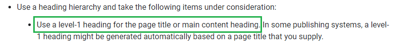 Google on using same Title and H1 Heading tags