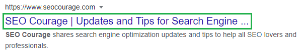 Title Tag in SERP Example