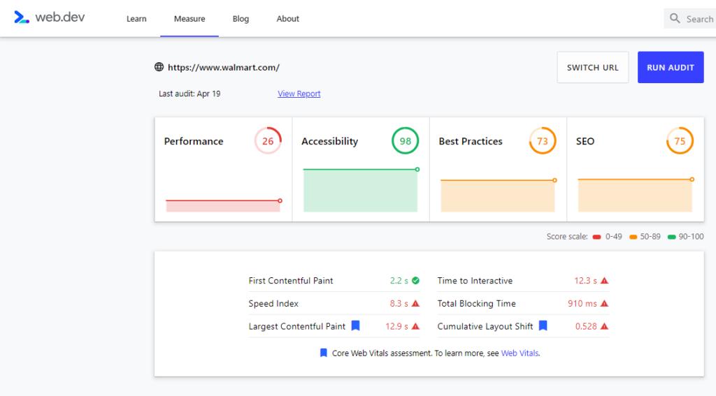 Web Dev Core Web Vitals Measure - Walmart