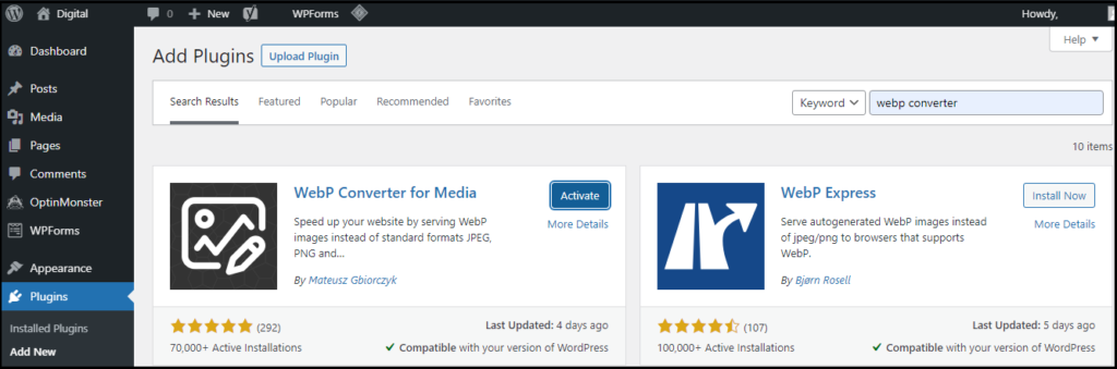 Activate WebP Converter for Media Plugin