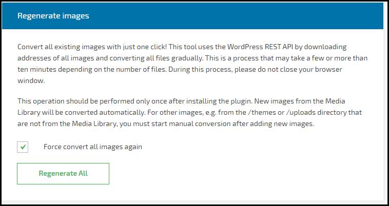 Regenerate Images - WebP Converter for Media Plugin