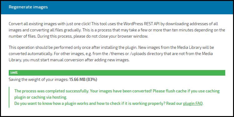 Regenerate Images Savings - WebP Converter for Media Plugin